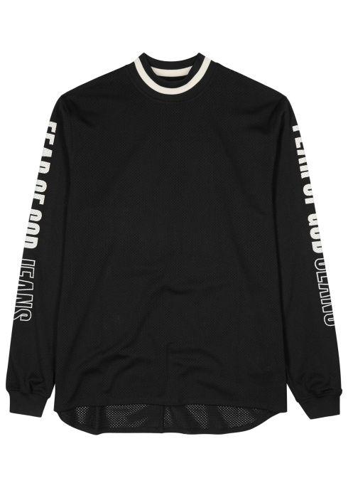 670989dc Black logo-appliquéd jersey mesh top - Fear of God | shirts | Shirts ...