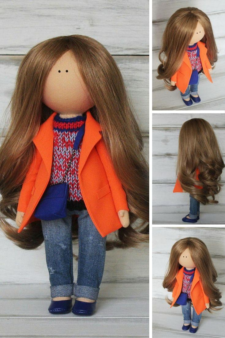 Art doll handmade, orange, blue, Fabric doll, Home doll, Rag doll, Decor doll, Baby doll, unique magic doll
