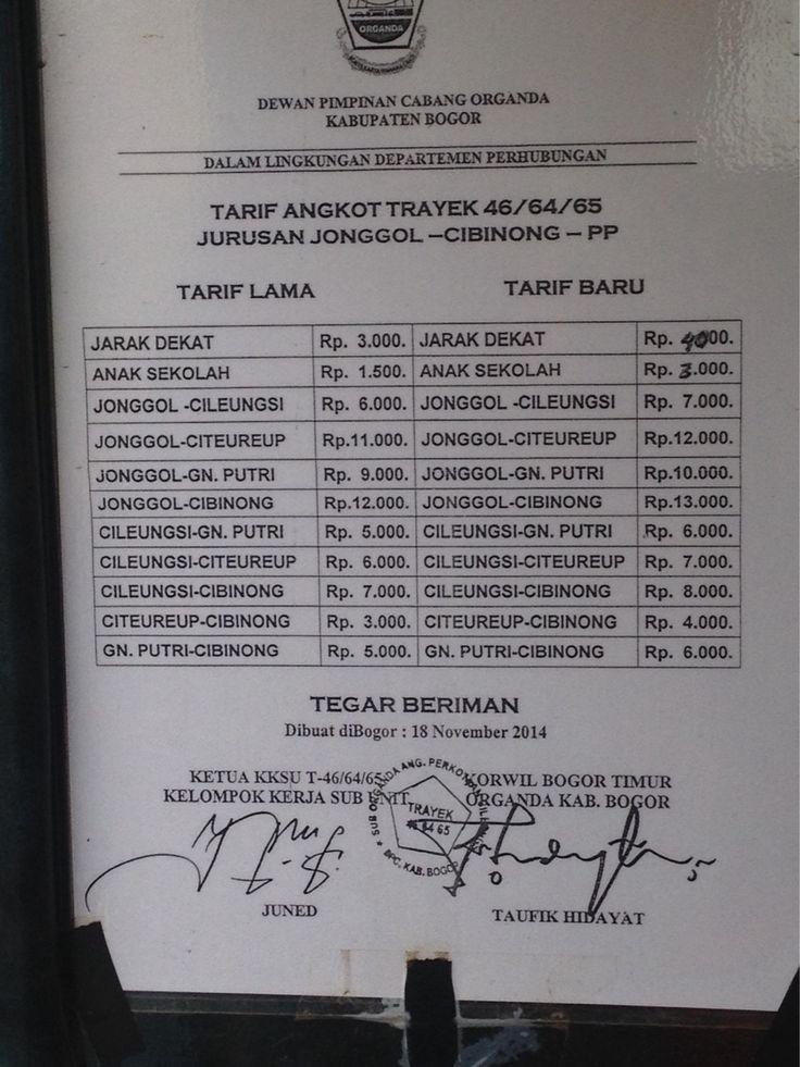 Tarif baru angkutan umum trayek 46/64/65 jurusan Jonggol - Cibinong - PP per November 2014 #bbm #bbmnaik #tarif #trayek #angkot #angkutanumum