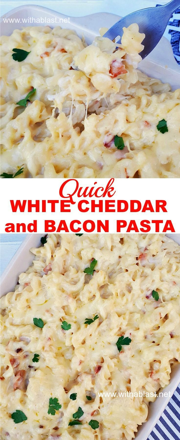 Best, creamiest, cheesy White Cheddar and Bacon pasta - ready in 30 minutes ! #macandcheese #comfortfood #creamypasta