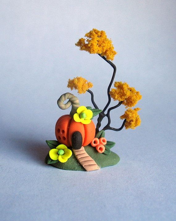 Miniature Harvest Pumpkin Fairy House with by ArtisticSpirit