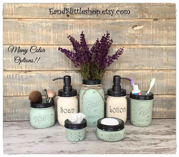 Our beautiful Oil Rubbed Bronze Mason Jar bathroom set is the perfect addition to your bathroom décor. These Mason Jars are perfect for any special occasion, including Weddings, Birthday Parties, Baby Showers and for many other big events. Each jar is customized, hand-painted with my