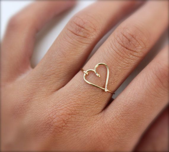 14K Rose Gold Heart Ring by DesignedByLei on Etsy