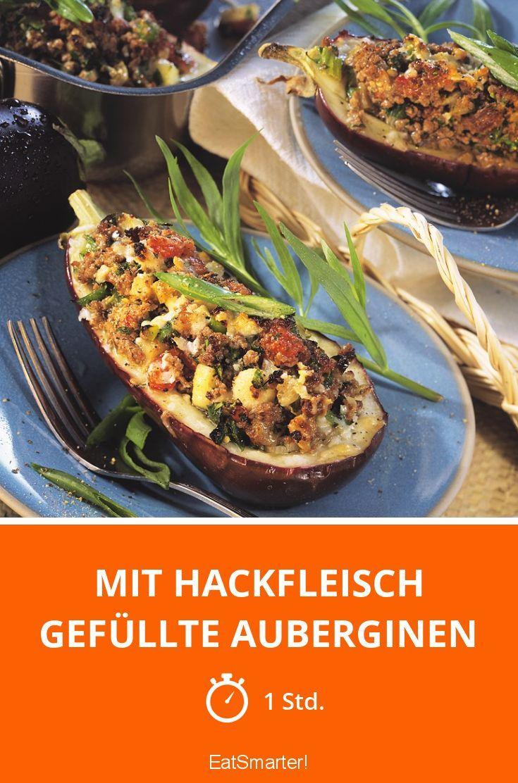 Mit Hackfleisch gefüllte Auberginen - smarter - Zeit: 1 Std. | eatsmarter.de