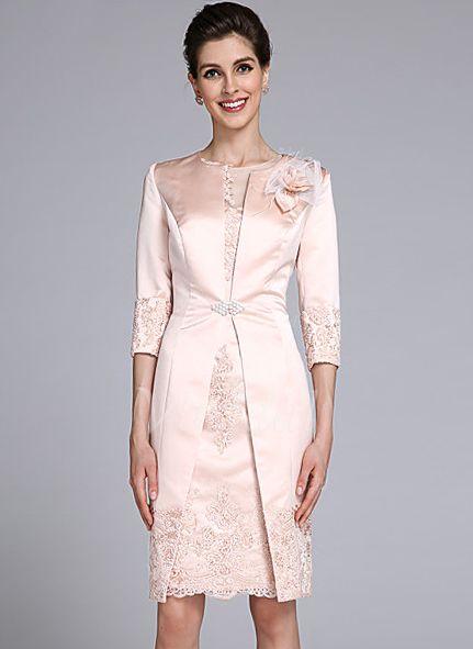 Kleider für die Brautmutter - $109.68 - Etui-Linie U-Ausschnitt Knielang Satin Kleid für die Brautmutter mit Applikationen Spitze Blumen (0085118320)