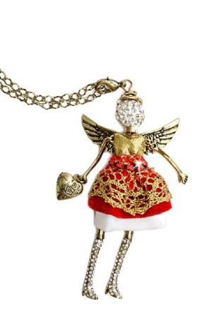 "- ""Friendship"" Angel Pendant with chain necklace and extra clip to double as a charm or key chain. - 30"" Chain, Angel: 1-13/16"" wide x 4"" tall. - Jacqueline Kent. - Believe, Have Faith Miracles Do Hap"