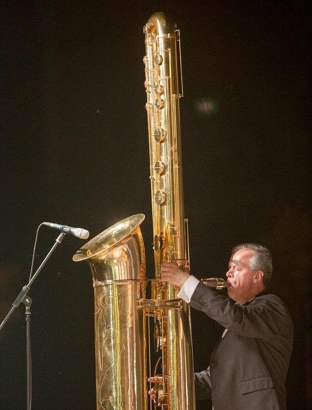 Attilio Berni plays the giant J'Elle Stainer sub-contrabass saxophone