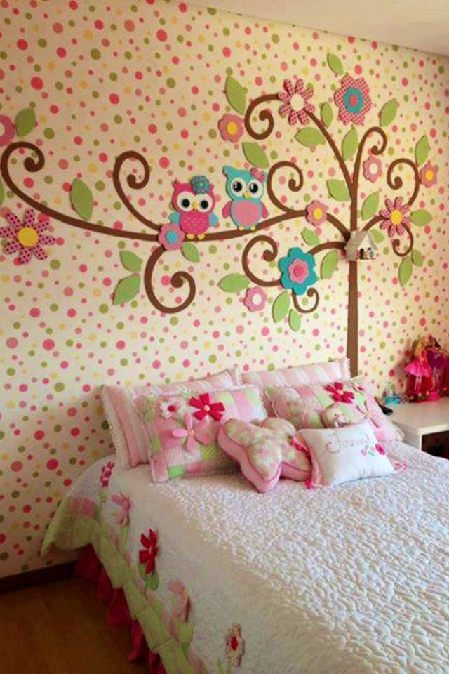 Colorful owl themed girls bedroom