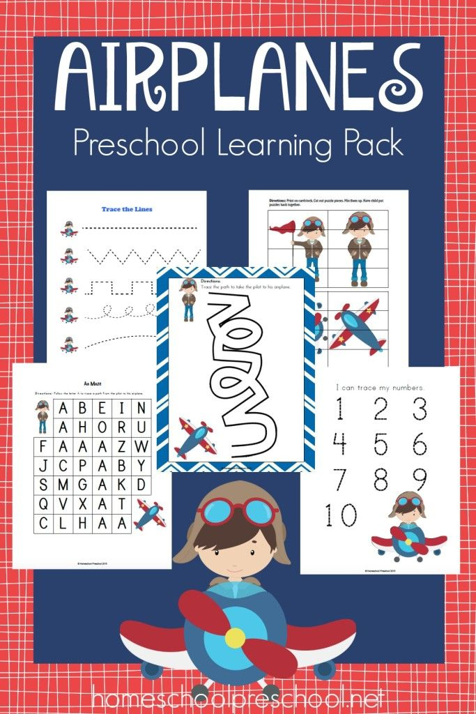 Celebrate National Aviation Month with this free Airplanes preschool learning pack. | homeschoolpreschool.net