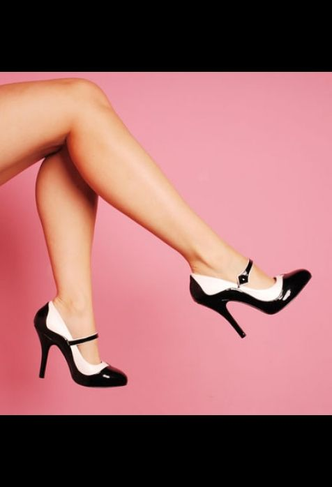 Bordello Shoes Tempt Two Tone Maryjane in Black and White with 4 1/2 heel