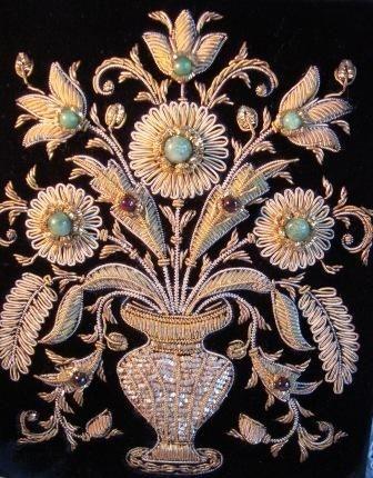 Vintage Handbag/Purse Zardozi Embroidery - Gold Work with Semi Precious Gems.