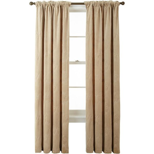 Bliss Velvet Embroidered Back-Tab Curtain Panel ($66) ❤ liked on Polyvore featuring home, home decor, window treatments, curtains, tab curtains, embroidered window panels, velvet drapery, embroidery curtains and velvet curtain panels