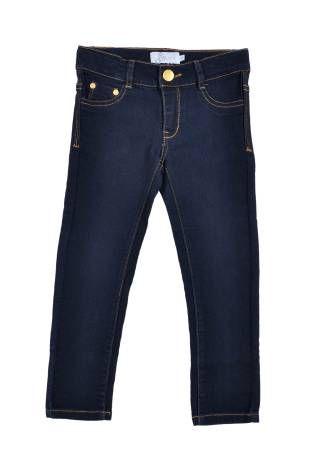 Pantalón elastizado tipo jeans para niña, en color azul oscuro.