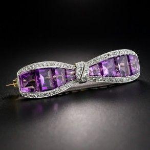 J.E. Caldwell Art Deco Amethyst Diamond Bow Pin