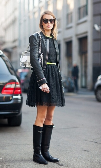 leather jacket + dress + boots