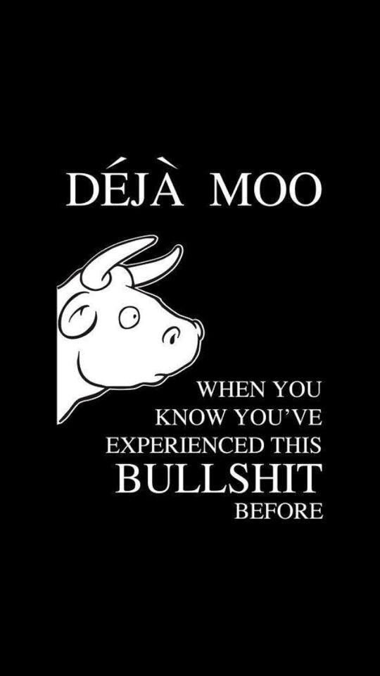 Déjà moo. When you know you've experienced this bullshit before.