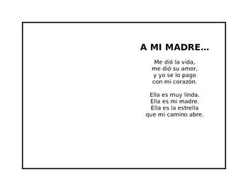cute mother 39 s day poem in spanish where kids can put their handprint draw something or put a. Black Bedroom Furniture Sets. Home Design Ideas