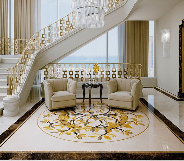bedroomsudir flooring motiff not very thrilled about it but we can def use the gold white concept - Marble Flooring Living Room Ideas