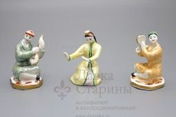 Статуэтки «Музыканты и танцующая девушка», триптих Дулево, фарфор СССР