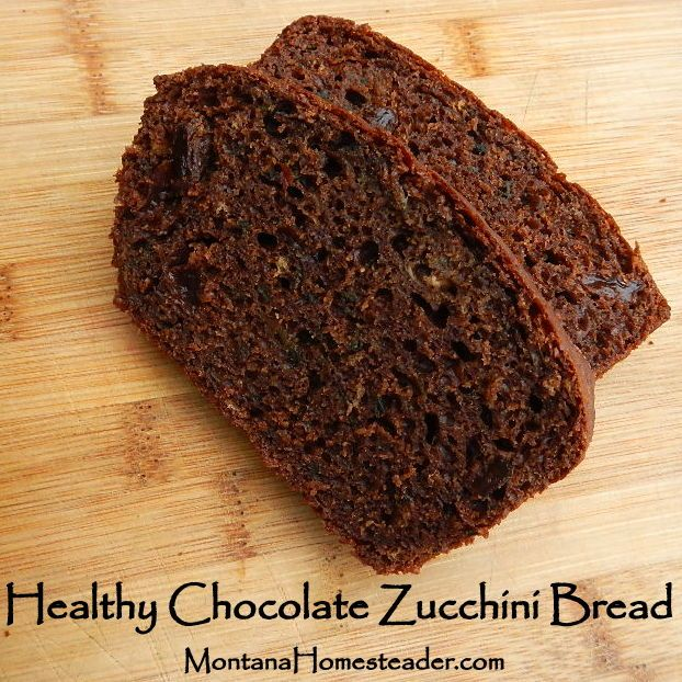 Healthy Chocolate Zucchini Bread made with coconut oil, honey and raw cacao powder. Easy to make, delicious and healthy! Montana Homesteader