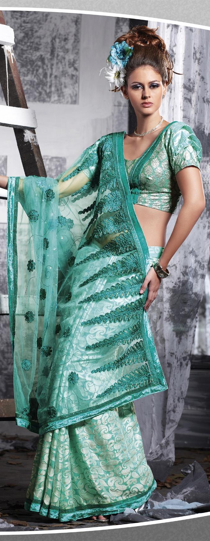 Rama Sea Blue Net Georgette Designer Saree