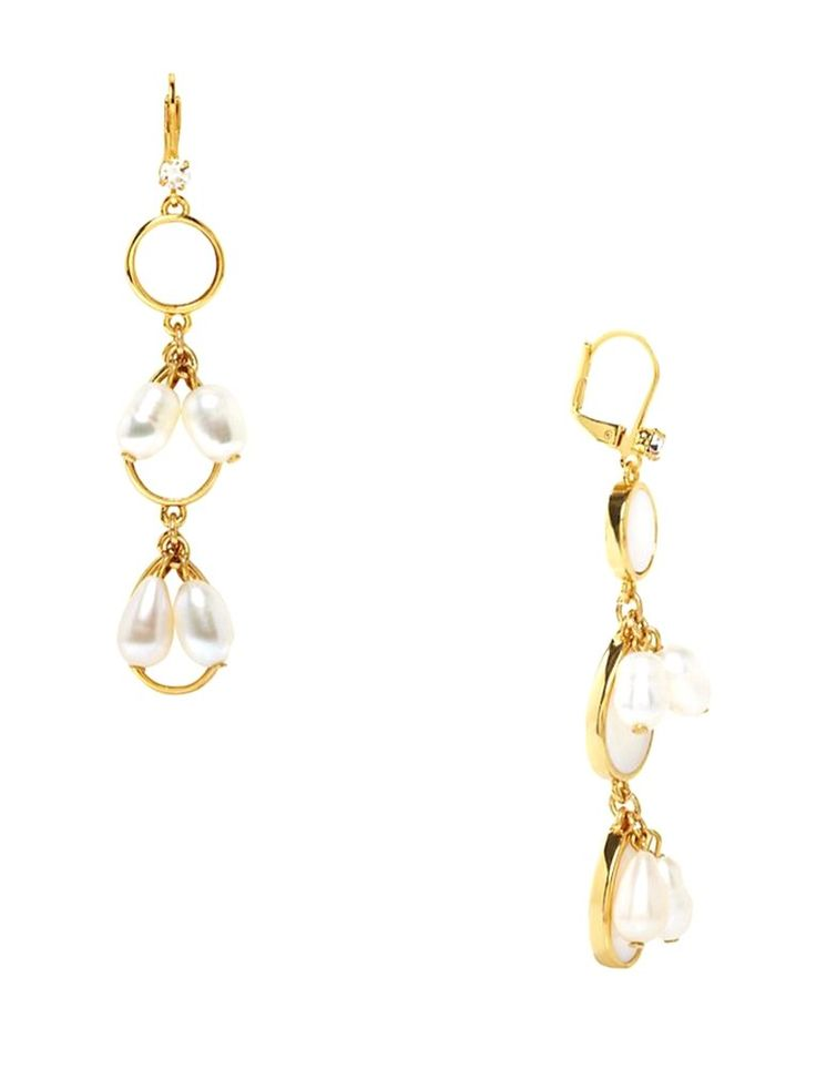 Kate Spade New York 'Pearl Point' Linear Drop Earrings. we used petal-shaped mother of pearl to create these luminous drop earrings, designed to instantly elevate anything you pair with them. Leverback closure. 2.75''h x 0.5''w. Imported.