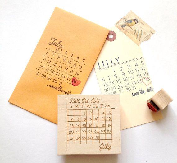Save the Date Stamp // Custom Wedding Calendar Stamp with Heart Marker. DIY Wedding Stamp.