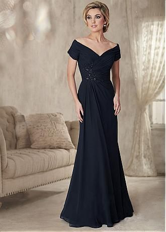 Buy discount Junoesque Chiffon Off-the-shoulder Neckline Sheath Mother Of The Bride Dress With Beaded Lace Appliques at Dressilyme.com
