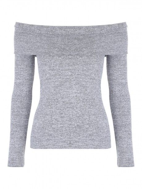Be a total babe in this bardot top. In grey, it's totally versatile and can be dressed up for date night or down for a more casual look. Featuring the flatte...