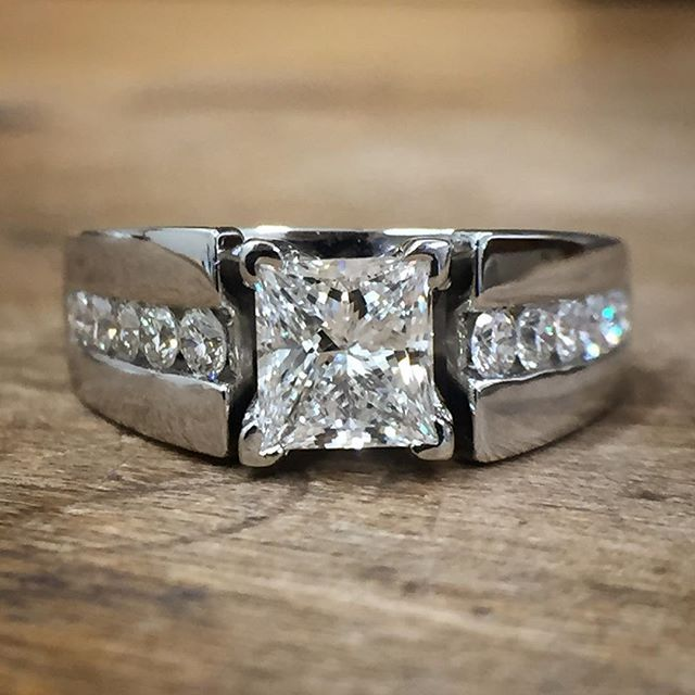 Pin for Later: 52 Princess-Cut Engagement Rings Fit For Real Royalty Thick Band