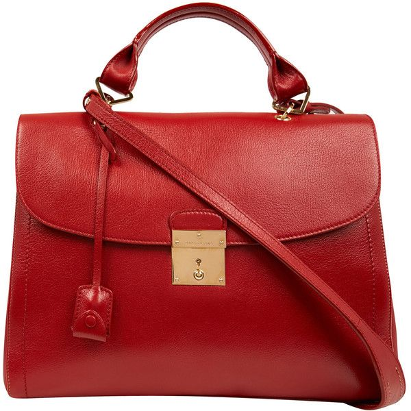 Marc Jacobs Red 1984 Leather Satchel ($755) ❤ liked on Polyvore featuring bags, handbags, purses, bolsas, marc jacobs, red purse, leather handbags, hand bags, red leather purse and red handbags