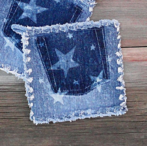 Upcycled Blue Jean Potholders Bleached Stars by DenimDiva2day