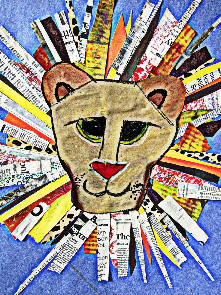 Leeuwenkop tekenen. A3 papier inkleuren en beplakken met kranten. Leeuwenkop knippen en op de kranten plakken.