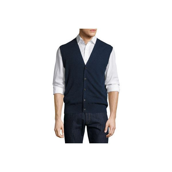 Neiman Marcus Cashmere Button-Front Vest ($66) ❤ liked on Polyvore featuring men's fashion, men's clothing, men's outerwear, men's vests, inkwell, mens sleeveless vest, mens sweater vest, mens vest, mens cashmere vest and mens cashmere sweater vest