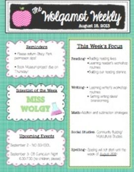 Best 25 preschool newsletter templates ideas only on for Weekly bulletin template