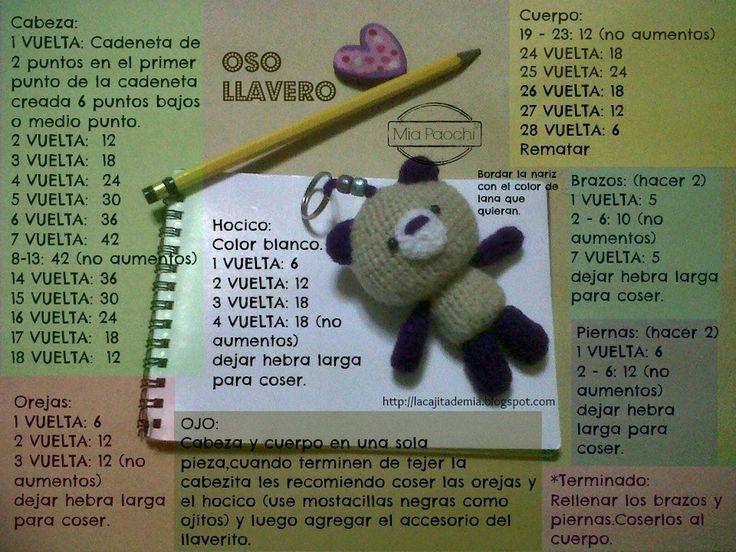 Oso Llavero Amigurumi - Patrón Gratis en Español  aquí: http://lacajitademia.blogspot.com.es/2013/07/blog-post.html