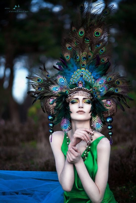 Peacock Fantasy Woodland fairy nymph goddess headdress headpiece gaga steampunk burlesque costume. $449.00, via Etsy.