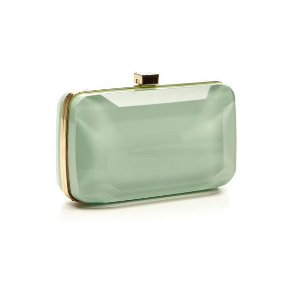 Mint Small Stone-Shaped Plexi Clutch (96.730 RUB) ❤ liked on Polyvore featuring bags, handbags, clutches, green purses, mint green purse, green clutches, elie saab handbags and mint purse