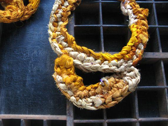 Orange choker orange necklace silk jewellery by WearitCrochet