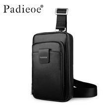 Padieoe Unisex Moda Erkekler ve Kadınlar Postacı Çantaları Çapraz Vücut Omuz Göğüs Çanta Paketleri Hakiki Deri Siyah(China (Mainland))