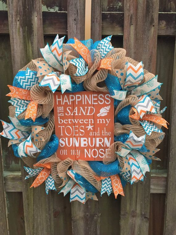 Beach Wreath Deco Mesh Wreath Double Door by PastNPresentsByAlana
