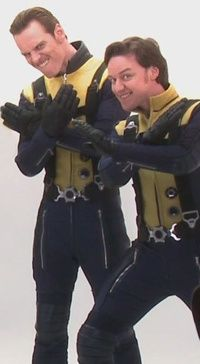Tag this! Michael Fassbender & James McAvoy being silly! Behind the scenes of X men first class.. love these guys!