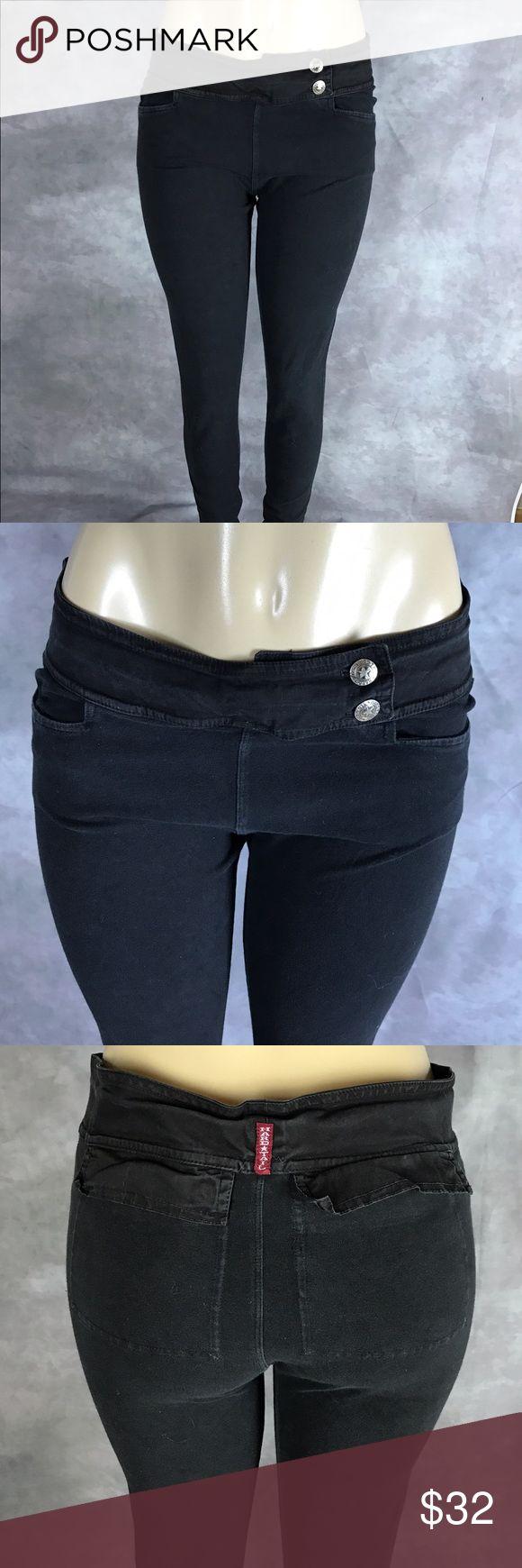 "Hard tail Women Jeggings skinny black Pockets Sz L Used inseam 34"" size L Black Hard Tail Pants Leggings"
