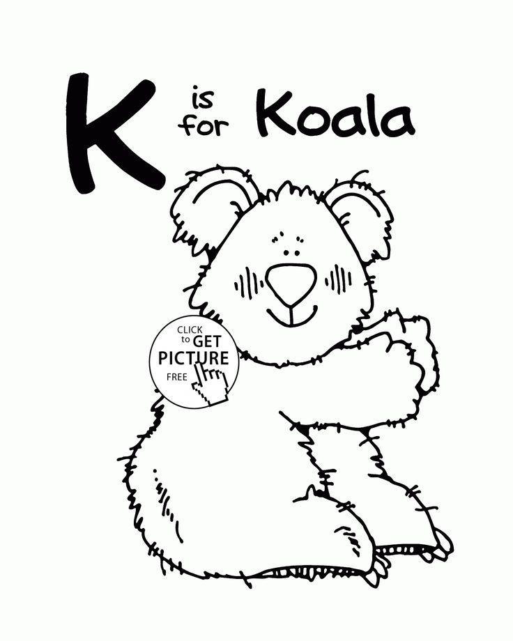Letter K Alphabet coloring pages for kids, Letter K