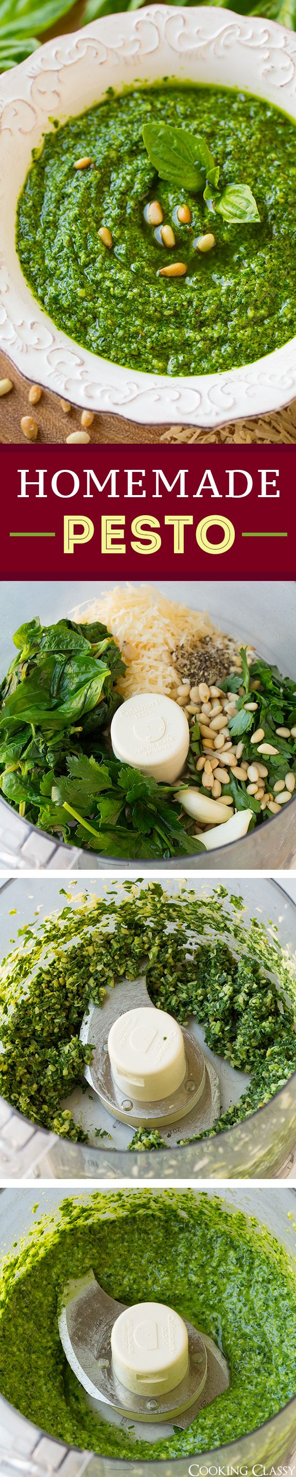 Homemade Basil Pesto (and how to keep it beautifully green) - this is my go to pesto recipe! I use it in so many different recipes or just add it to pasta with extra parm for a quick dinner.