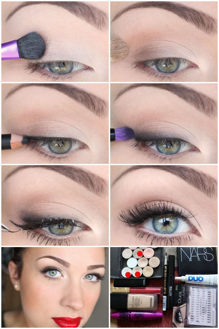 Basic pinup makeup... So easy but so gorgeous! Lips!! -- This is an everyday eye routine for me :) minus the bold lip.