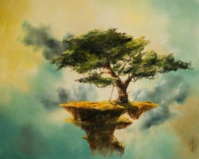 bonsai DUŻY OBRAZ OLEJNY na PŁÓTNIE abstrakcja
