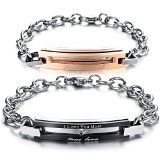KONOV Jewelry Cubic Zirconia Stainless Steel Mens Womens Couples Love Bracelet Set, 2pcs, Valentines Day Gift, Black Silver - http://tonysgifts.net/2015/03/13/konov-jewelry-cubic-zirconia-stainless-steel-mens-womens-couples-love-bracelet-set-2pcs-valentines-day-gift-black-silver/