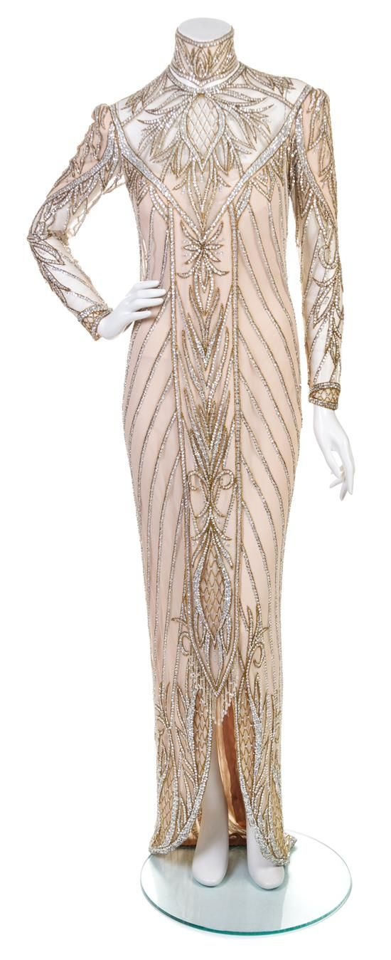 A Bob Mackie Nude Embroidered Evening Gown,