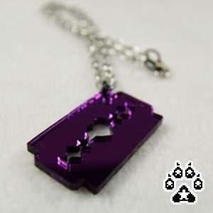 Purple Acrylic Razorblade Heart Necklace pendant goth by pawstar